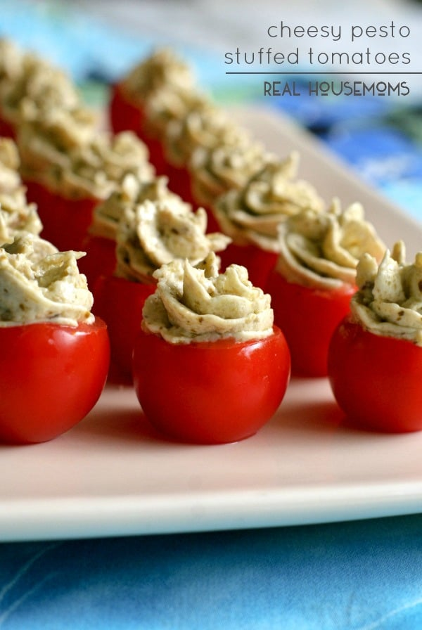 Cheesy Pesto Stuffed Tomatoes | Real Housemoms