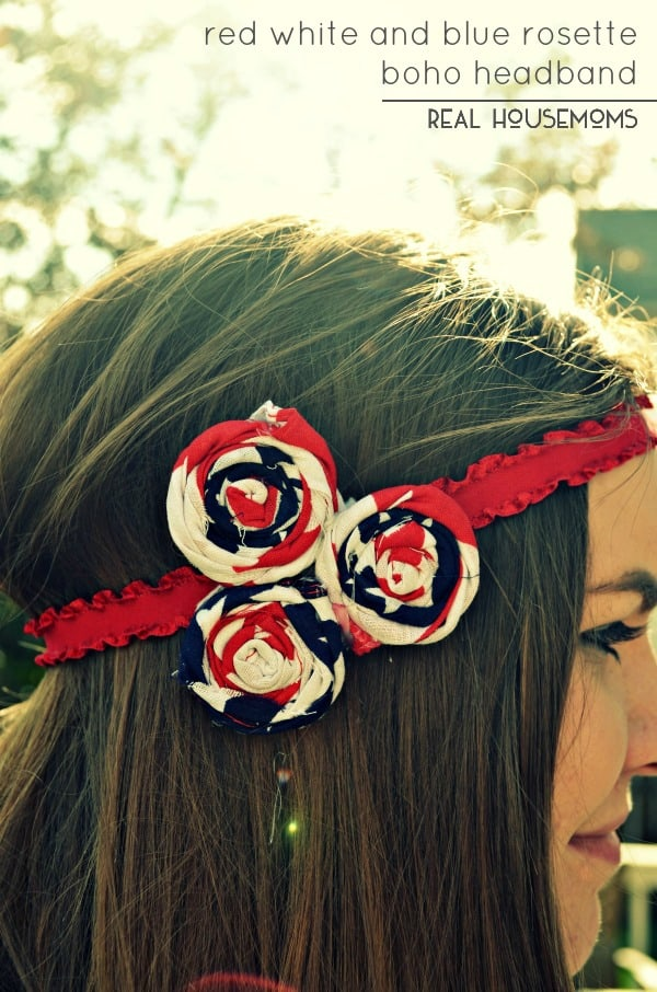 Red White and Blue Rosette Boho Headband | Real Housemoms