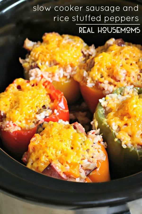 Slow Cooker Sausage & Rice Stuffed Peppers | Real Housemoms