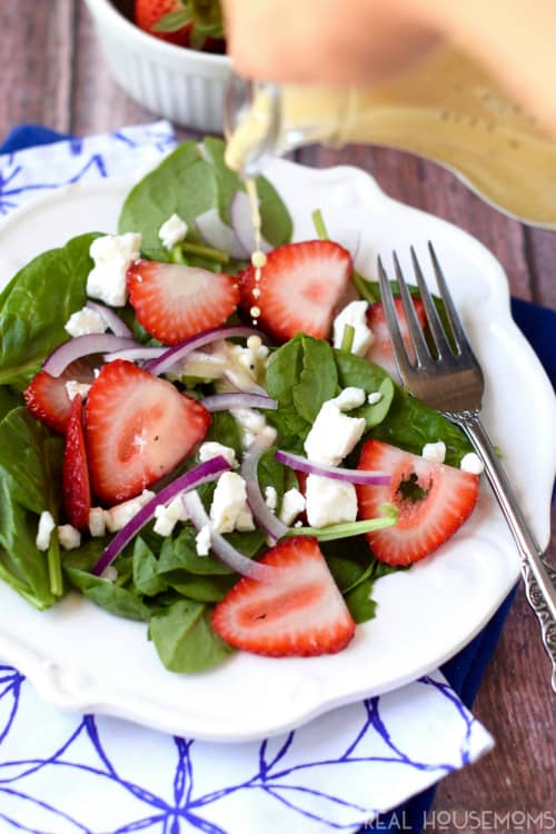 This Strawberry Feta Salad with Light Lemon Poppy Seed Dressing is absolutely perfect for summer!  Your summer BBQs and picnics need this salad and lightened up dressing!