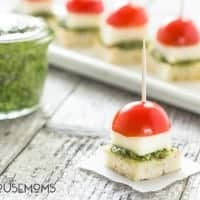 Caprese with Pesto Bites will be your go to appetizer this summer with homemade pesto that comes together in a snap!