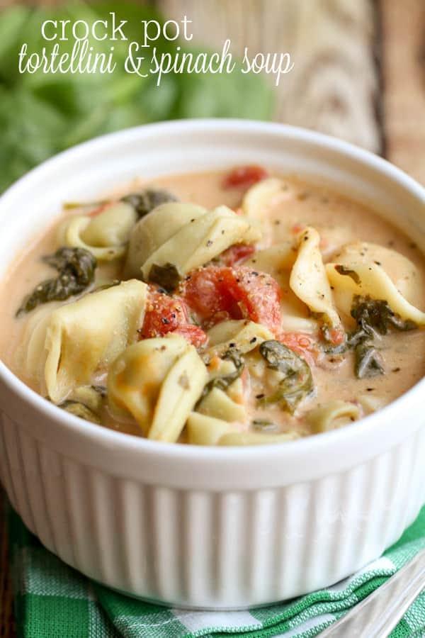 Crock Pot Tortellini Spinach Soup - Lil' Luna