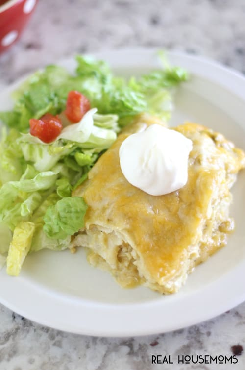 Turn a family favorite into an easy weeknight meal. Green chili chicken enchilada casserole is quick to put together and will be on the dinner table in no time.