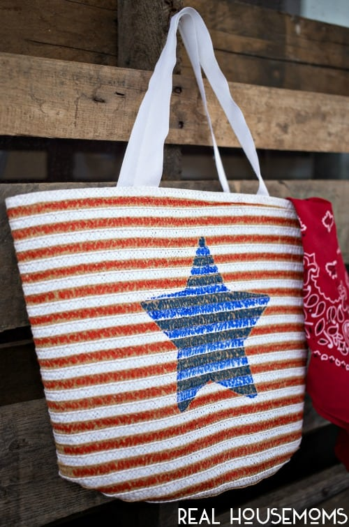 This Patriotic Painted Tote makes a great travel companion to all those summer parties!