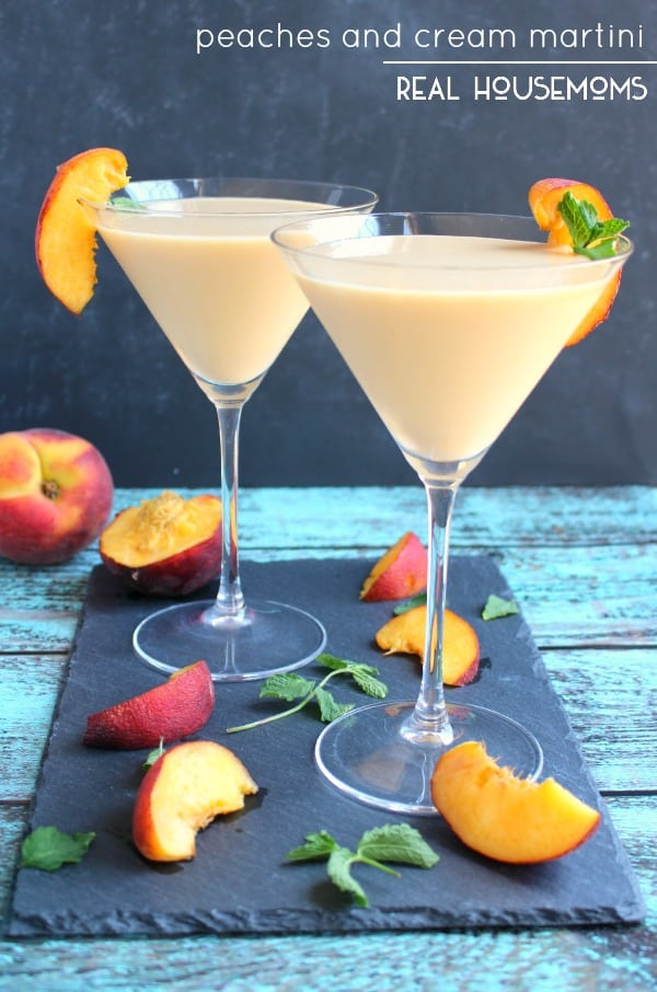 This PEACHES AND CREAM MARTINI is fun summer cocktail, perfect for sipping on the patio! This cocktail is cool, creamy and completely delicious!