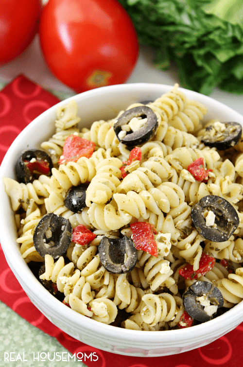 This Pesto Pasta Salad is sure to become a family favorite! It comes together in no time and since there in no mayo, it's perfect for summer get-togethers!