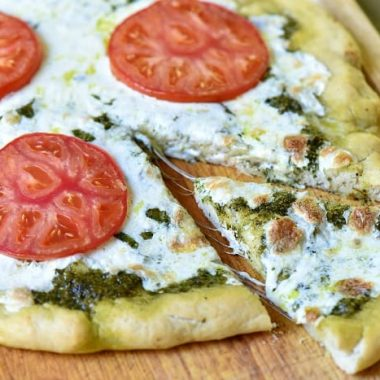 Pesto Pizza is so fresh that my family begs for me to make it all the time now!