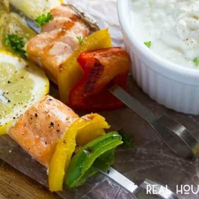 Souvlaki Salmon Skewers with Yogurt Feta Sauce