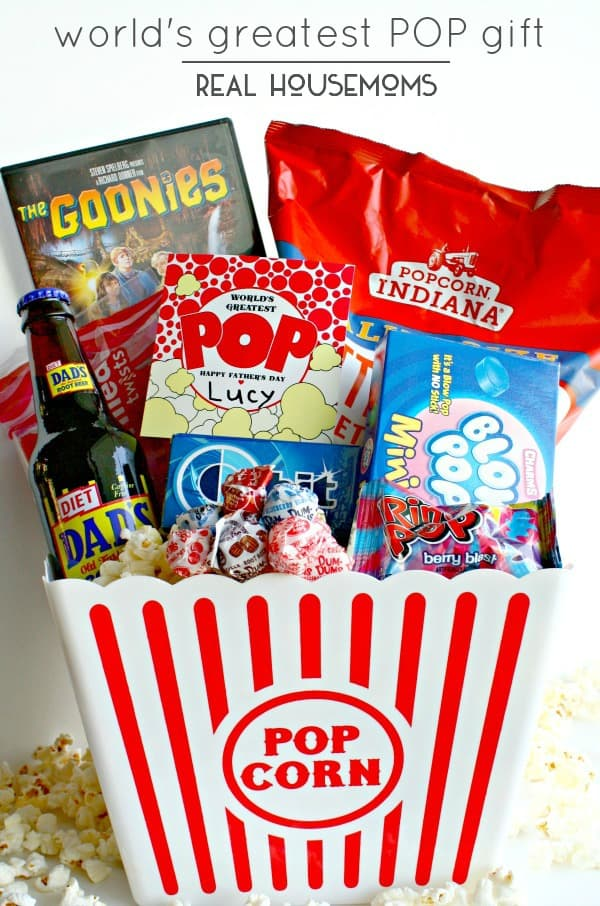 "Our World's Greatest Pop Gift basket (and free print) centers around all things that ""POP"" for dad to enjoy on his special day!!"