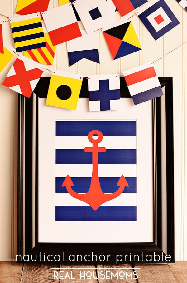 This Nautical Anchor Printable is perfect for your patriotic decor!
