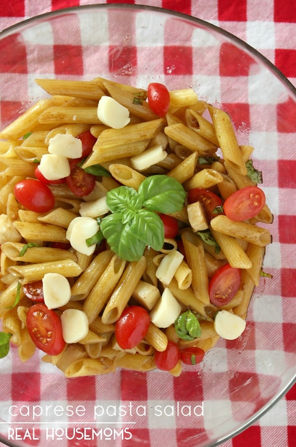 Caprese Pasta Salad is a hearty pasta salad full of Italian flavor that's perfect for summer!