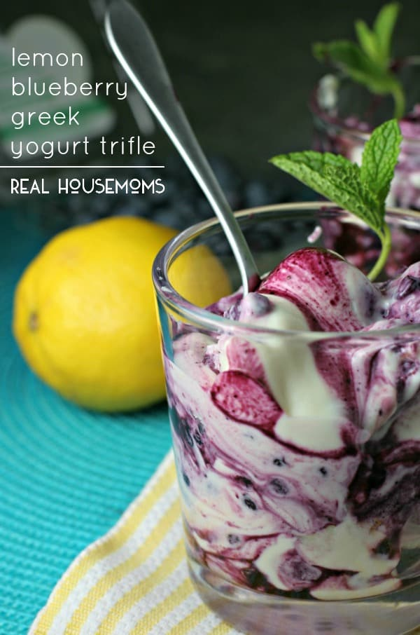 """Wow"" your guests this summer with a Lemon Blueberry Greek Yogurt Trifle, a quick and easy no-bake dessert!"