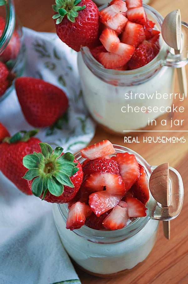 Strawberry Cheesecake in a Jar is a scrumptious, no-bake dessert you can take with you on-the-go! Perfect for summer BBQ's, reunions, or just because you want a creamy cheesecake for a refreshing snack in no time!