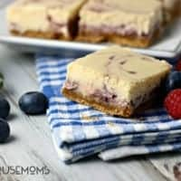 TRIPLE BERRY SWIRL CHEESECAKE BARS are a delicious treat to serve or bring to any summer get together!