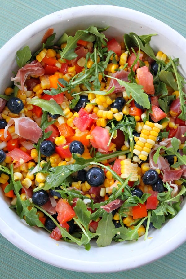 Blueberry Corn Salad with Prosciutto- Recipe Girl