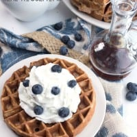 Classic blueberry waffles with a protein boost twist! These Blueberry Protein Waffles are the perfect way to start a day!