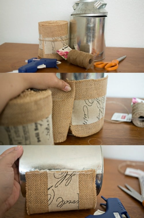 Have fun with your summer crafting by updating tin cans, paint cans or a cute galvanized milk can like this Burlap Milk Can Vase!