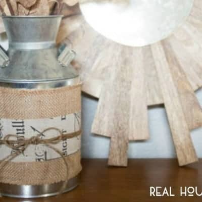 Burlap Milk Can Vase