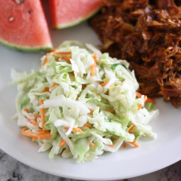This sweet and tangy coleslaw recipe is easy to make and is a perfect side dish for your summer bar-b-cues.