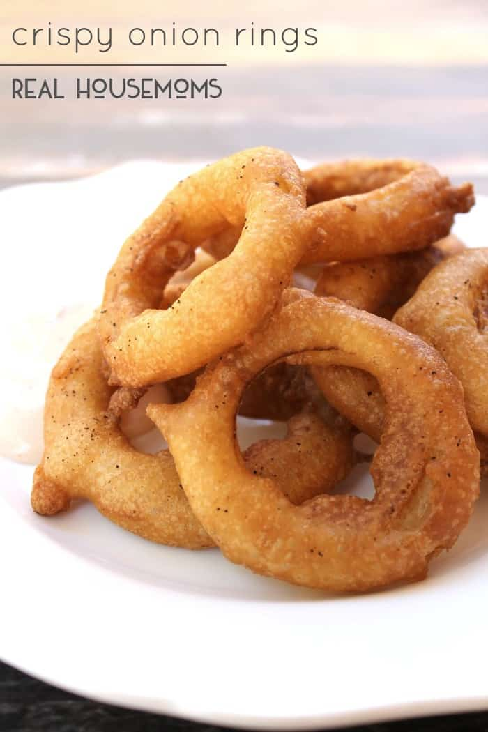 One of our favorite things to serve up along bugers and hot dogs in the summer in a big plate of Crispy Onion Rings!