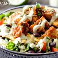 Grilled Barbecue Chicken Salad with Avocado Ranch Dressing is better than your favorite restaurant salad at a fraction of the cost, but with ALL the flavor!