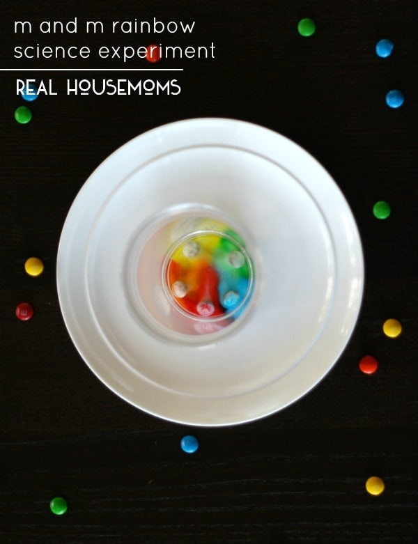 This M and M Rainbow Science Experiment is a simple ot prepare and has major cool factor for the kids!
