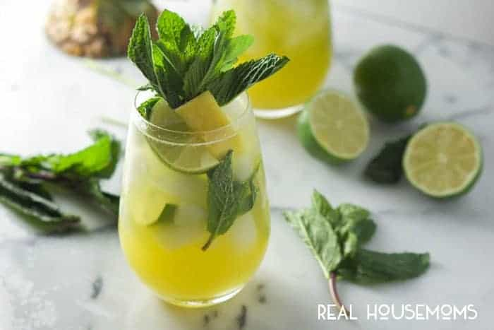 Skinny Sparkling Mint Pineapple Lemonade is light, refreshing and will quench your thirst for a tropical drink!