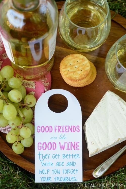 This Free Wine Tag Printable makes for such a fun & easy gift for friends and is available as a PDF or Silhouette Print and Cut file!