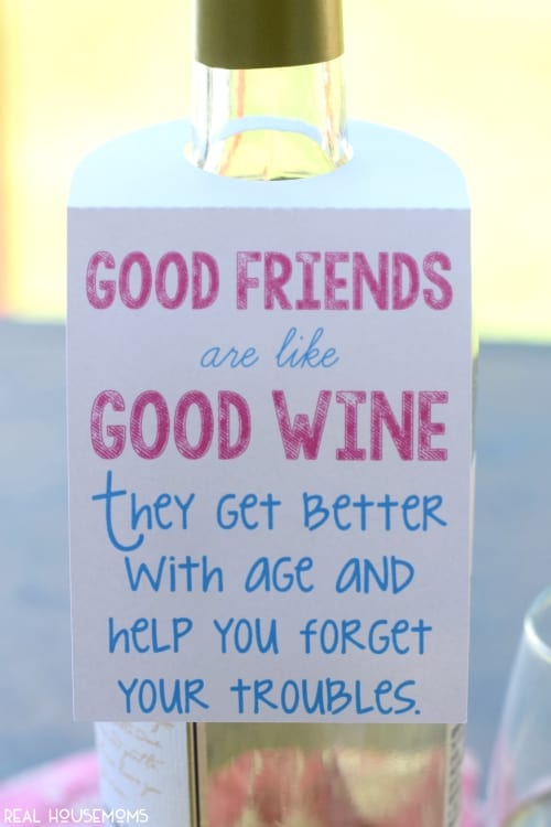 This Free Wine Tag Printable makes for such a fun & easy gift for friends and is available as a PDF or Silhouette Print and Cut file.
