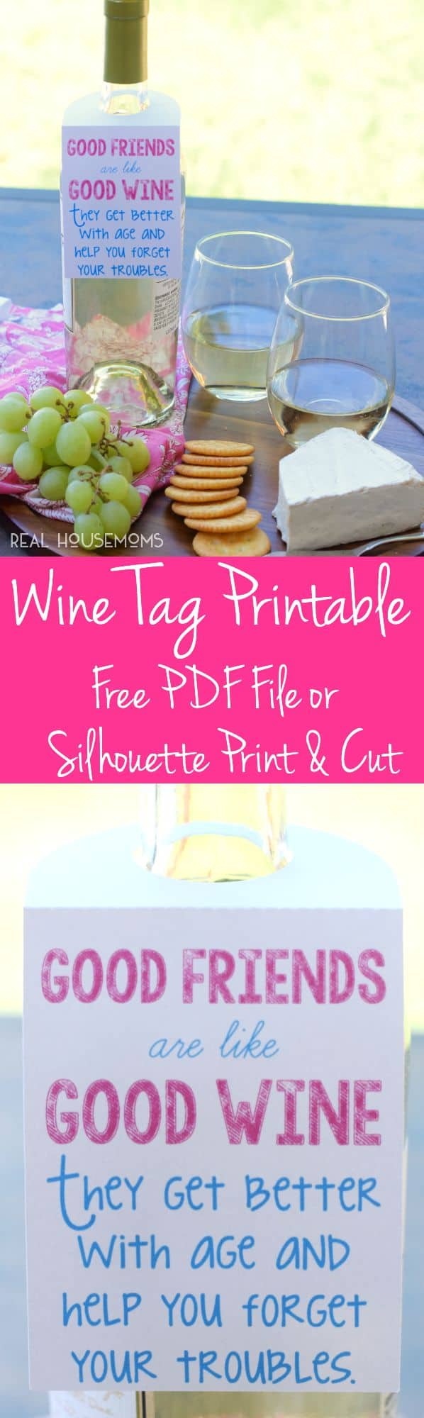 This Free Wine Tag Printable makes for such a fun easy gift for friends and is available as a PDF or Silhouette Print and Cut file!
