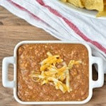 3 Ingredient Crock Pot Bean Dip is my go to football appetizer! It's crazy popular with my crowd!