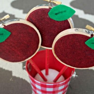 Mini Embroidery Hoop Apple Pencils