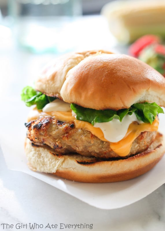 Cheddar Ranch Chicken Burgers - The Girl Who Ate Everything