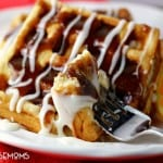Cinnamon Roll Waffles are two favorite breakfast foods merged into one!