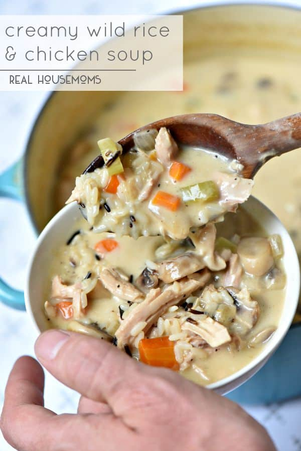 Creamy Wild Rice and Chicken Soup is the best fall comfort food ever!! It's ready in just 30 minutes!