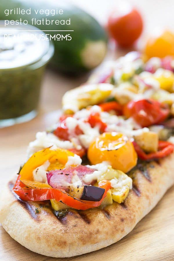 Enjoy what the season's produce has to offer and make this tasty Grilled Veggie Pesto Flatbread!