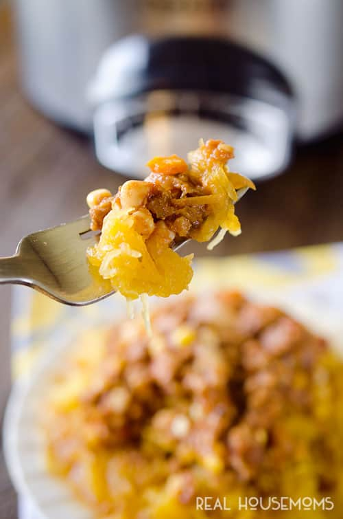 This Healthy Crock Pot Taco Spaghetti Squash is a wholesome and easy main dish perfect for a busy Meatless Monday weeknight dinner!