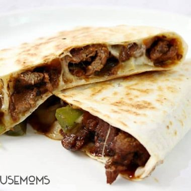 Switch up your dinner routine with these Philly Cheesesteak Quesadillas! They puts a new spin on everything you love in the classic sandwich!