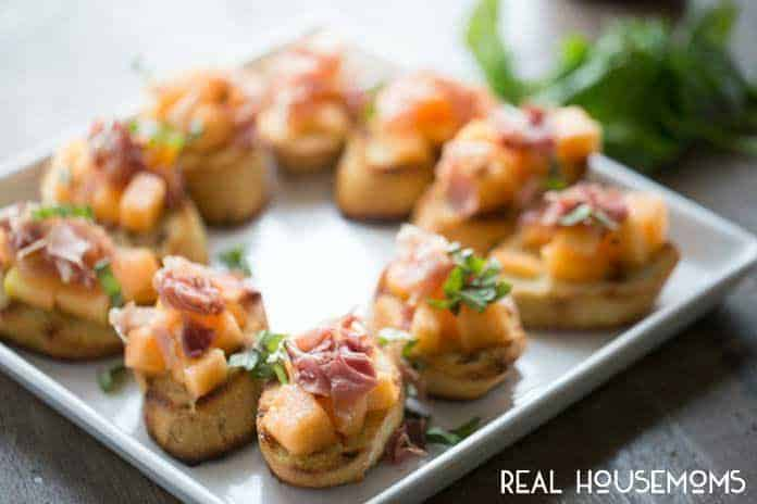 This sweet and savory Proscuitto Melon Bruschetta will impress over and over again!
