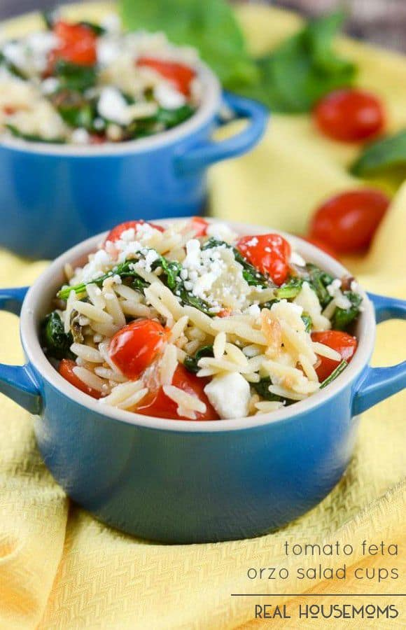 Tomato Feta Orzo Salad Cups are a wonderful pasta salad with a Mediterranean flair!