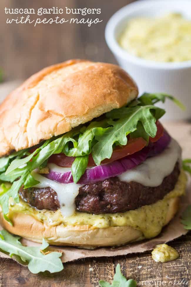 Tuscan Garlic Burgers with Pesto Mayo - The Recipe Critic