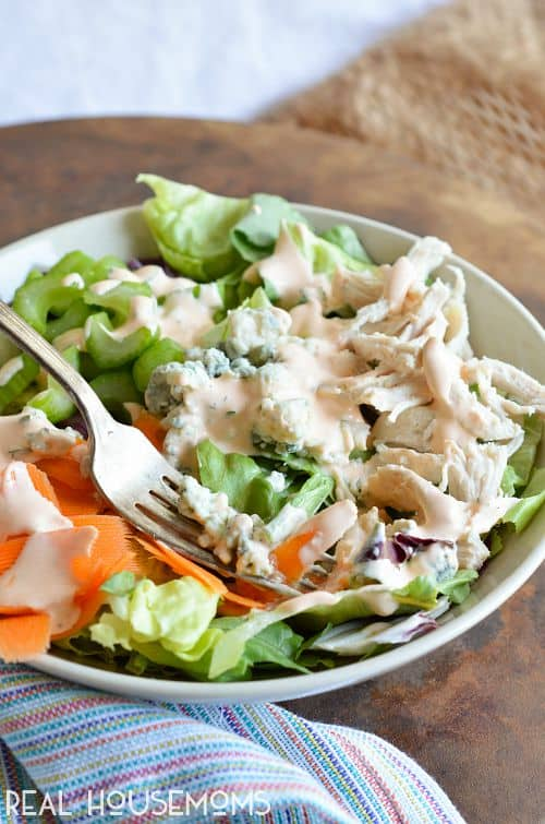 All of the great flavors of buffalo chicken wings in the form of a healthy salad! Make this homemade Buffalo Ranch Dressing to add a kick to any boring salad!