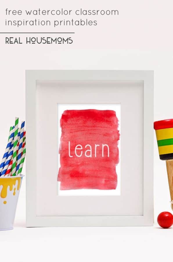 These free watercolor classroom inspiration printables are perfect for an elementary classroom, a homeschool room, or even as a teacher gift to kick off the school year.!