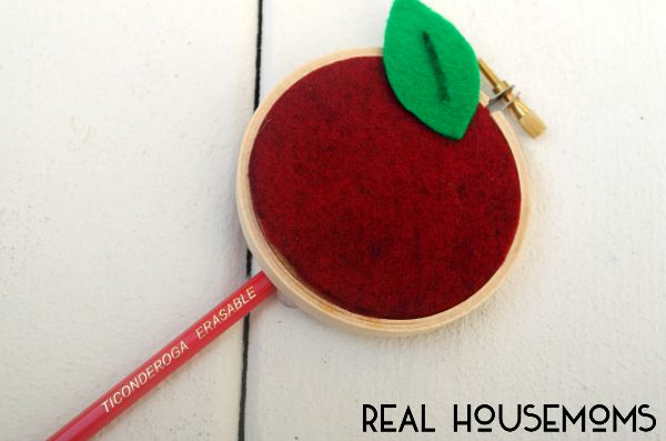 Surprise your favorite teach with a bouquet of handcrafted Mini Embroidery Hoop Apple Pencils!