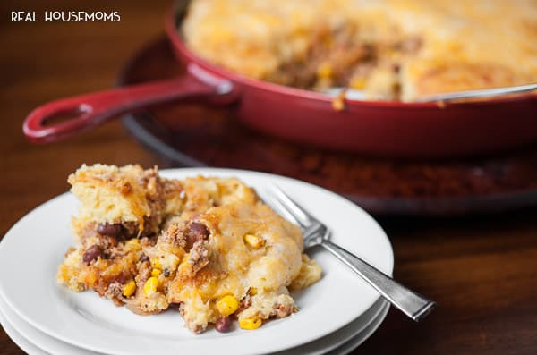 This cheesy Skillet Turkey Cornbread Casserole with salsa, black beans, and corn is the perfect family dinner for those busy weekday nights.