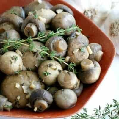 Slow Cooker Garlic Mushrooms