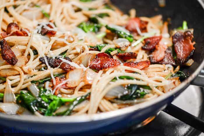 Bacon-Spinach-Garlic-Pasta