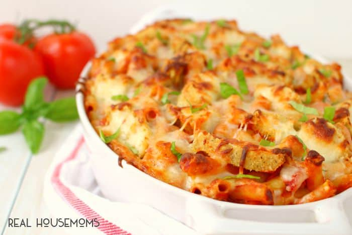 If you're a pasta fan, you're gonna love this Chicken Parmesan Baked Ziti! It comes together quickly and easily with just a few simple ingredients.