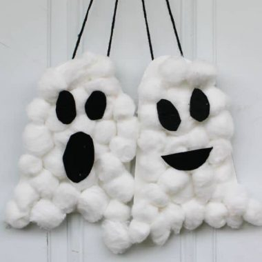 Halloween Cotton Ball Ghosts
