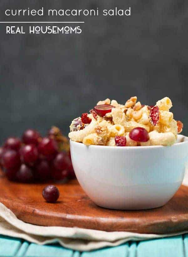 Healthy, bold and flavorful Curried Macaroni Salad is made without mayo, and offers a curry kick paired with sweet raisins and grapes and crunchy walnuts making this the perfect combination of flavors and textures!